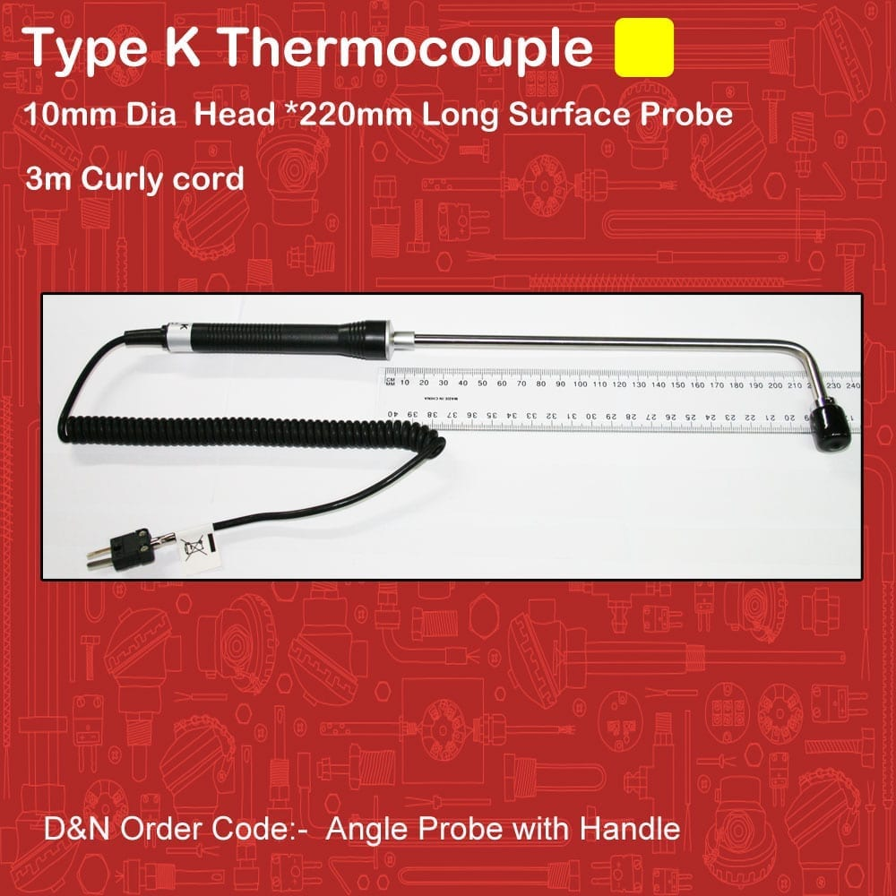 Thermocouple Type K Surface probe Angle 220mm Handle